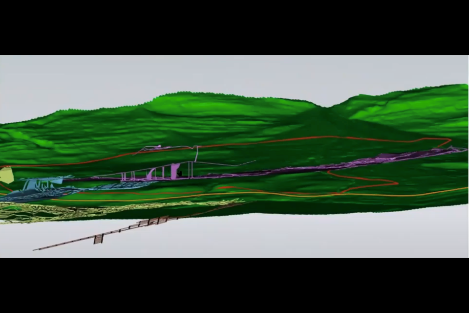 A three-dimensional image shows the undermined areas under the Three Sisters Village area structure plan.  Handout