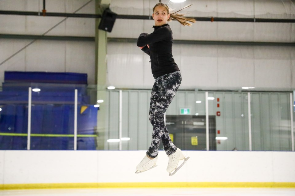 Canmore Skating Club's Maya Gonzalez lands a single axel during a practice at the Canmore rec centre on Thursday (May 6). Gonzalez was recently selected to the Alberta/NWT/NUN Junior Development Team. EVAN BUHLER RMO PHOTO