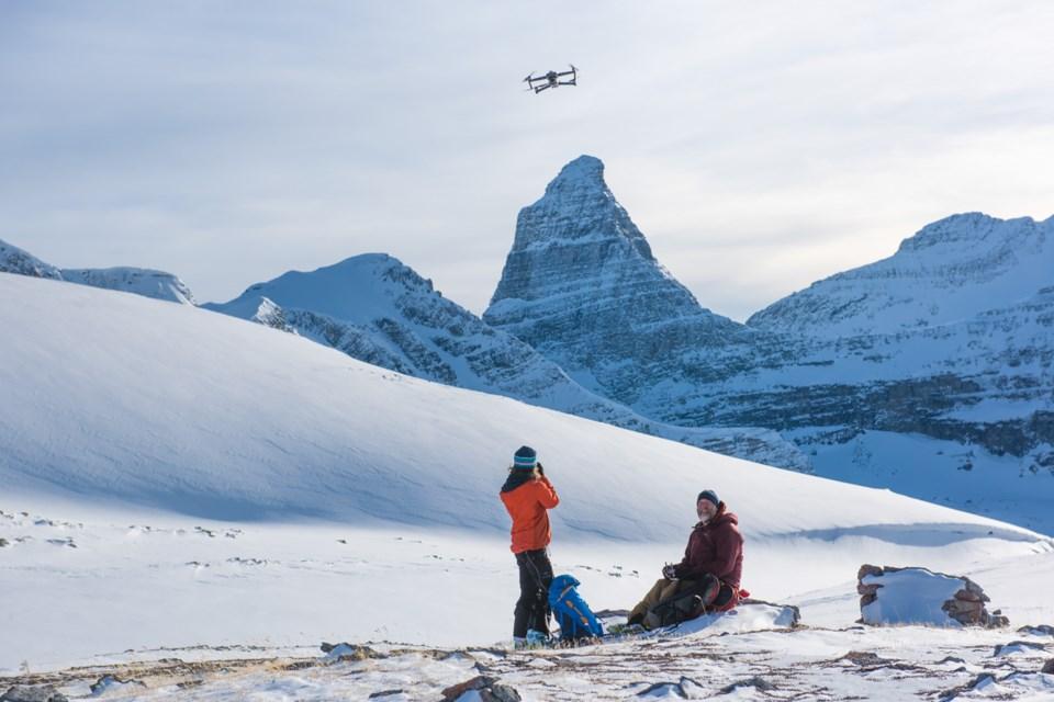 Researchers use a drone to search for wolverine tracks near Talus Lodge. DAN RAFLA PHOTO