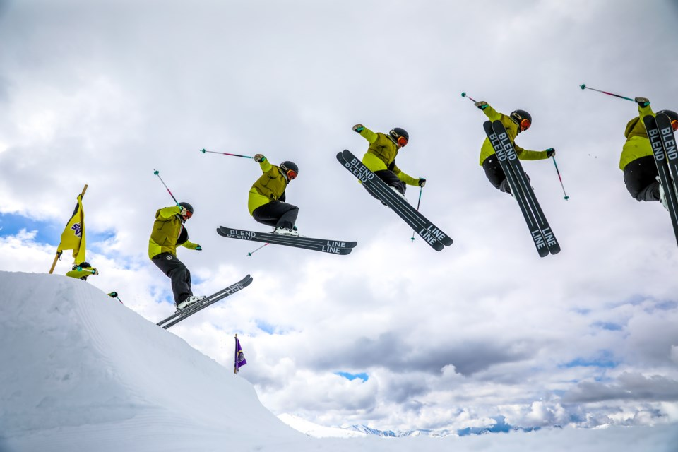 A multiple exposure shows Jesse Frank soar through the air while spending time in the park at Sunshine Village Ski Resort on Thursday (May 13). EVAN BUHLER RMO PHOTO