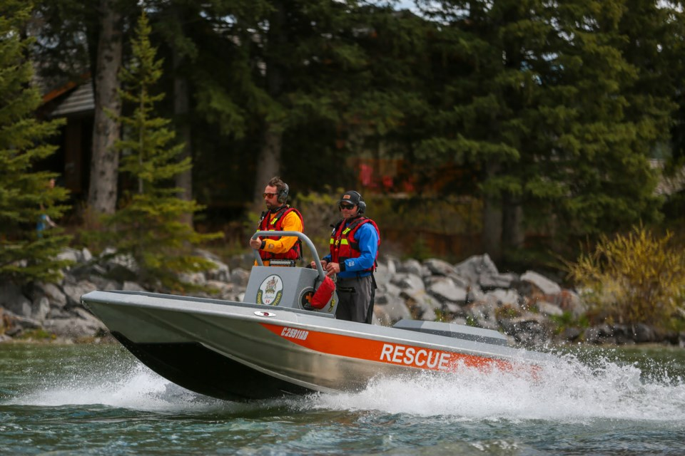 Kananaskis Country Public Safety crews patrol the Bow River in Canmore on Saturday (May 29). EVAN BUHLER RMO PHOTO