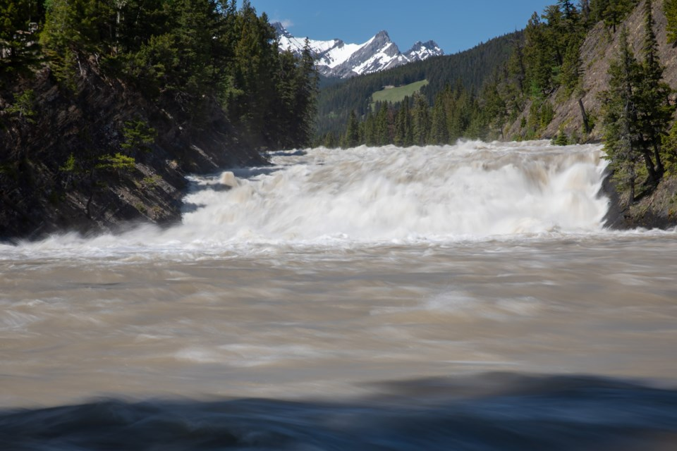 A raging Bow River downstream of Bow Falls on Friday (June 4). EVAN BUHLER RMO PHOTO