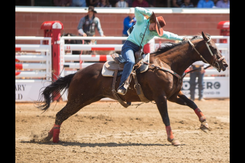 Exshaw-based barrel racer Lacey Caldas competes at the Calgary Stampede on Monday (July 12). (Chelsea Kemp/The Cochrane Eagle)