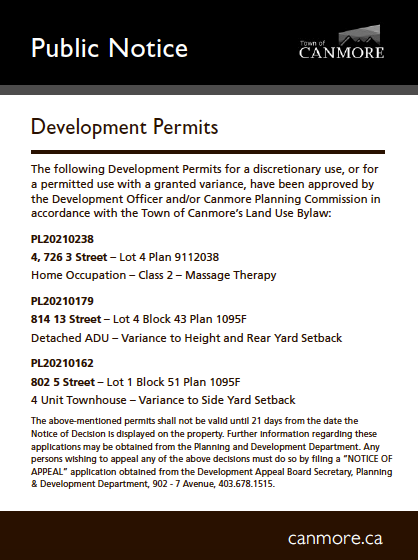 Town of Canmore - Development permits - July 15, 2021