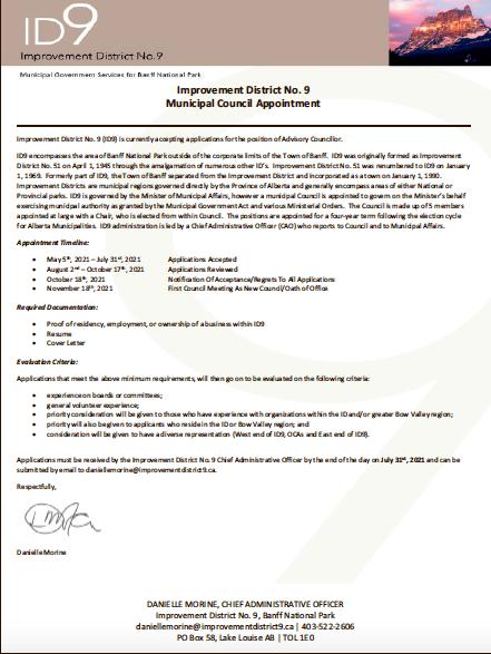 ID No. 9 – Municipal Council Appointment – July 22, 2021