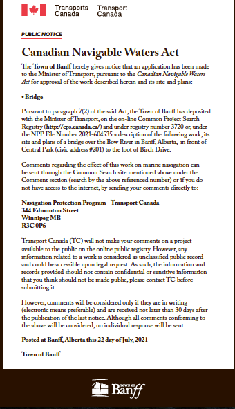 Town of Banff – Canadian Navigable Waters Act – July 22, 2021