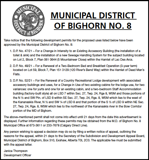 MD of Bighorn - Development Permits - July 29, 2021
