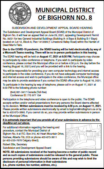 MD of Bighorn - Subdivision and Development Appeal Board - July 29, 2021