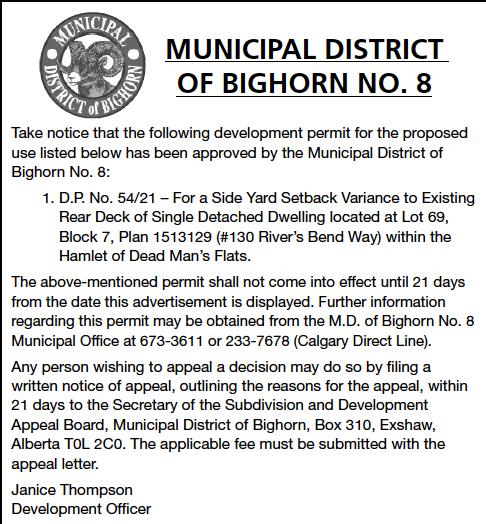 Public Notice - MD of Bighorn - Development Permits - August 19, 2021