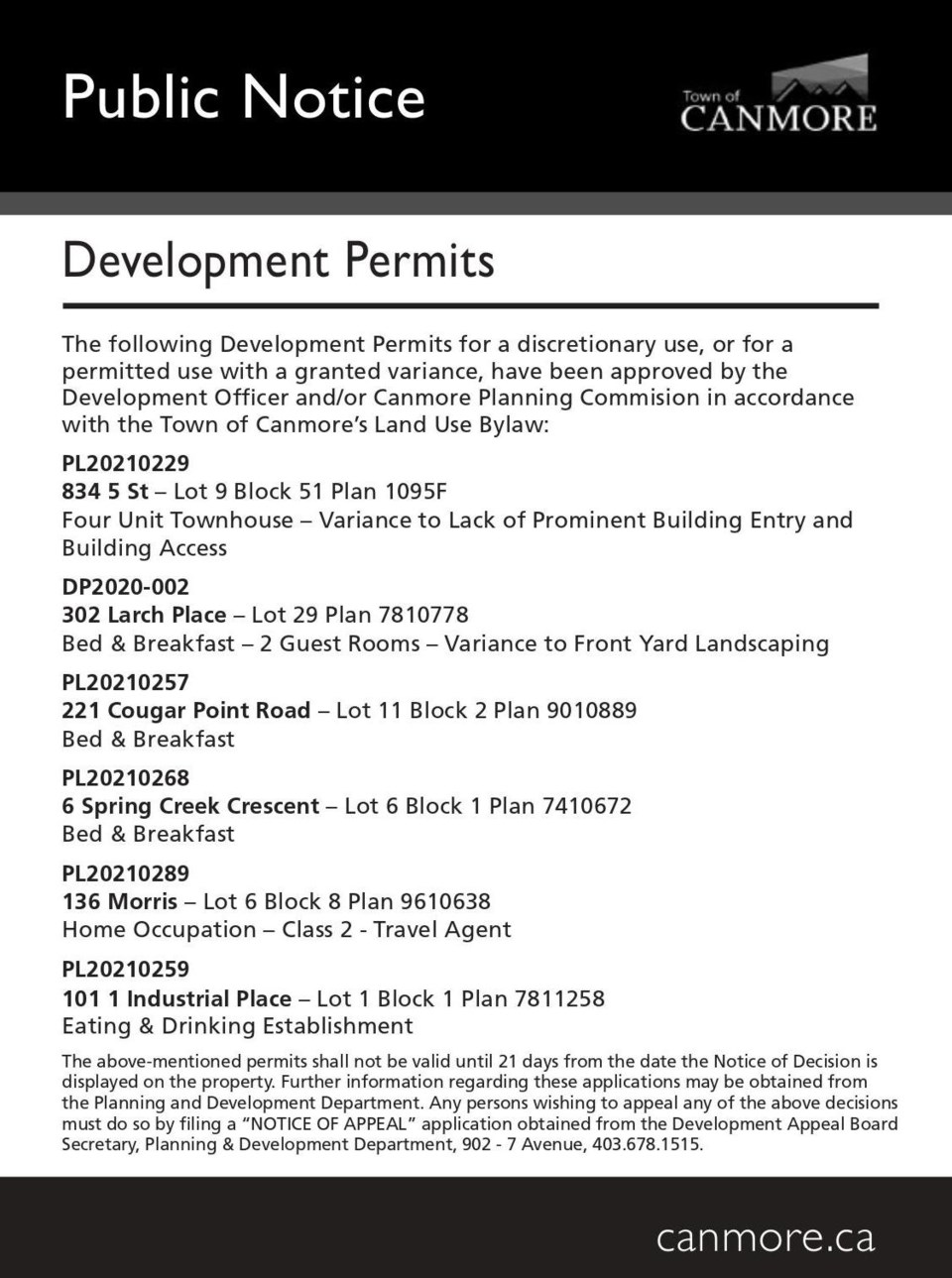 PUBLIC NOTICE – Town of Canmore development permits – August 26, 2021