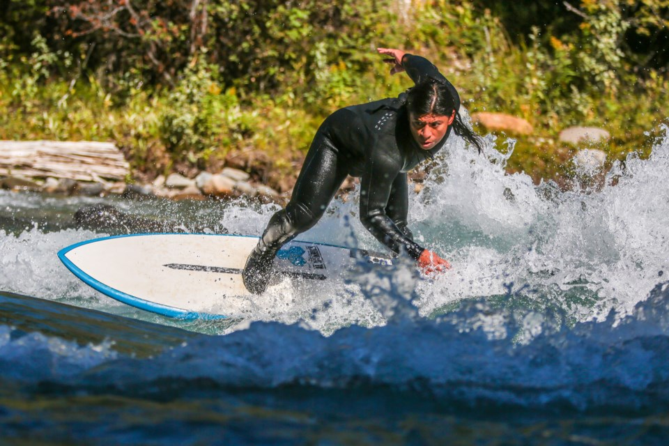 Edison Castillo competes in the Alberta River Surfing Championships in Kananaskis Country on Saturday (Aug. 28). EVAN BUHLER RMO PHOTO