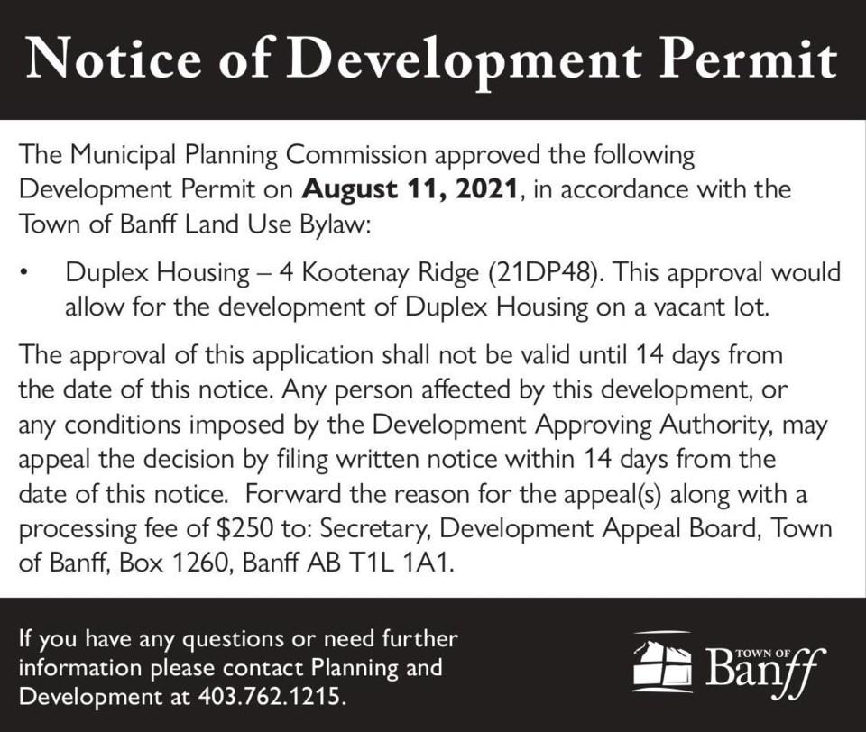 Public Notice – Town of Banff – development permit