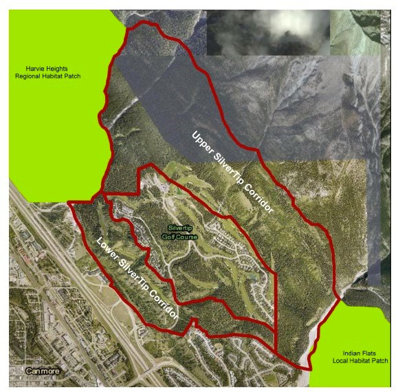 A map of the Lower and Upper Silvertip wildlife corridors.  Handout