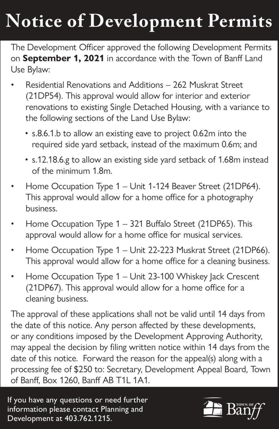 PUBLIC NOTICE – Town of Banff – development permits – Sept. 9, 2021