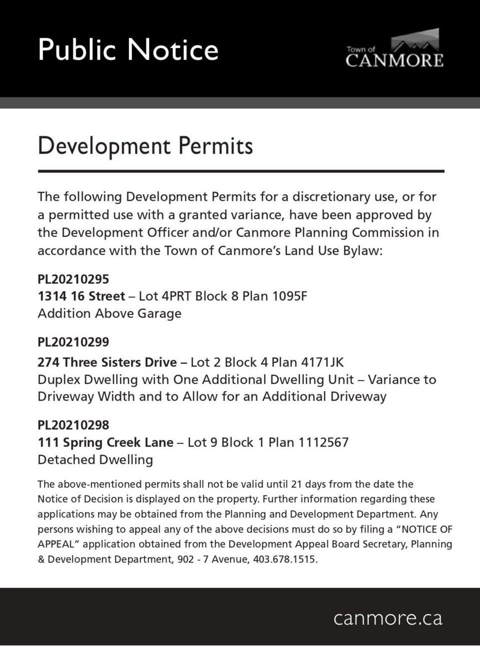 PUBLIC NOTICE – Town of Canmore – development permits – Sept. 9, 2021