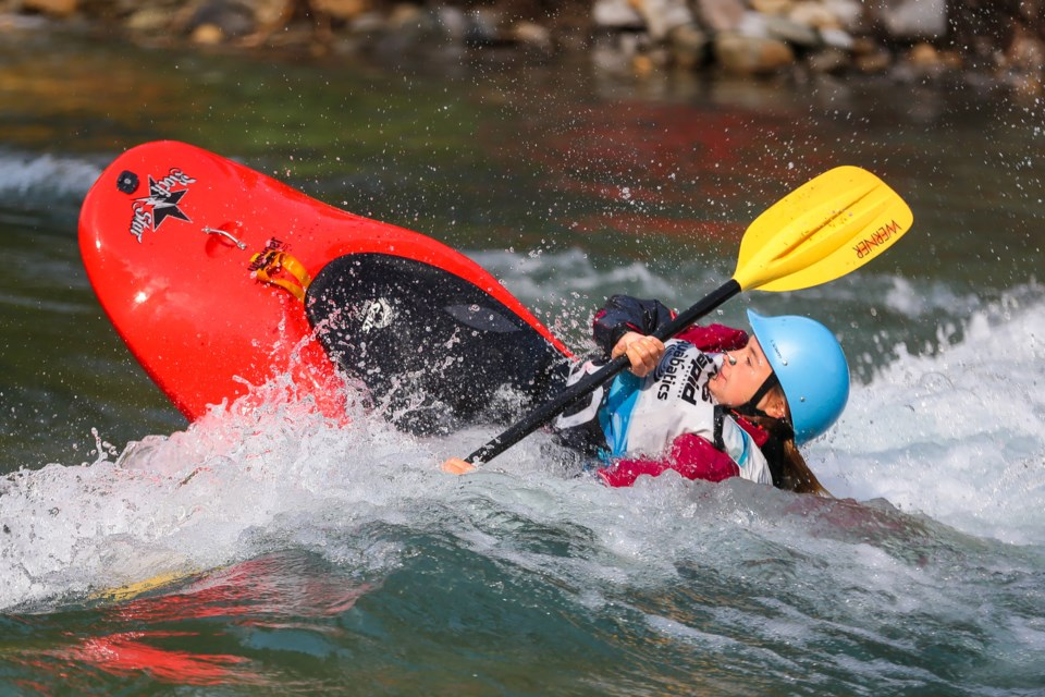 Emma Aasman, competing in the junior division, performs a spin move during the freestyle event at the Alberta Whitewater Association provincial championships in Kananaskis on Saturday (Sept. 11). EVAN BUHLER RMO PHOTO