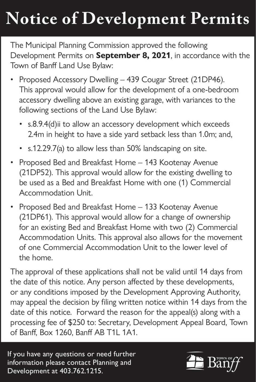 PUBLIC NOTICE – Town of Banff - development permits