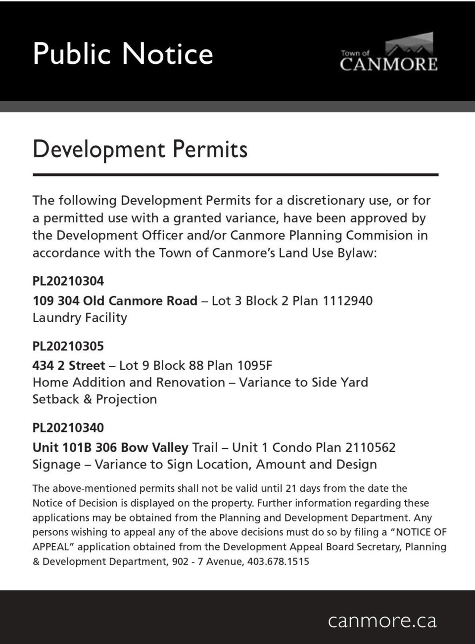 PUBLIC NOTICE – Town of Canmore - development permits