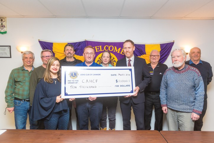 The Lions Club of Canmore presents a cheque for $10,000 to the Canmore and Area Health Foundation in 2019. The funds were used to support the foundation's Feels Like Home long-term care enhancement project at the Canmore Hospital. RMO FILE PHOTO
