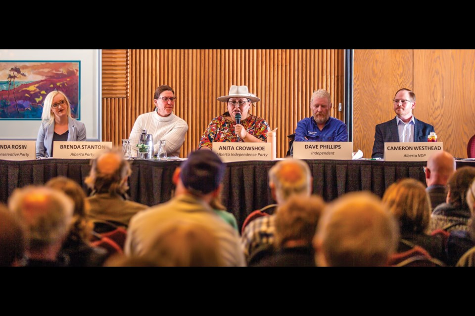 Candidates for the Banff-Kananaskis riding, Miranda Rosin, Brenda Stanton, Anita Crowshoe, Dave Phillips and Cam Westhead at the Banff Lake Louise Hospitality Association candidates forum at the Banff Park Lodge on April 8, 2019. Voting day in Alberta for the provincial election was April 16. RMO FILE PHOTO