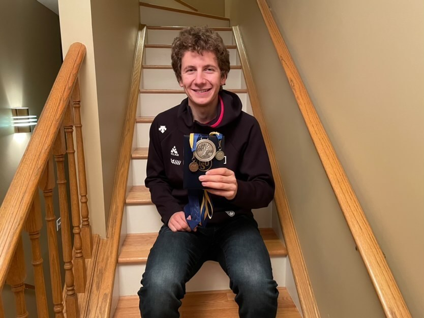 Connor Howe holds his world championship and world cup medals he recently won overseas. SUBMITTED PHOTO