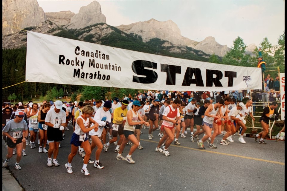 The start of the first Canmore Rocky Mountain Marathon and eight-km in 1995. SUBMITTED PHOTO
