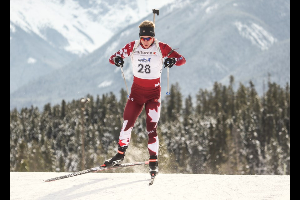 Scott Gow competes in the Men's 10-km Biathlon Sprint at the Canmore Nordic Centre in November, 2017. RMO FILE PHOTO