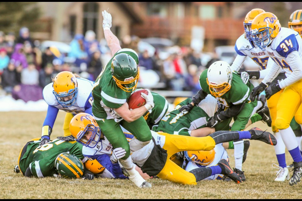 The Canmore Wolverines take on the Wilow Creek Cobras in 2018's first round of the playoffs at Millennium Field in Canmore. The Wolverines defeated the Cobras, 30-13. RMO FILE PHOTO