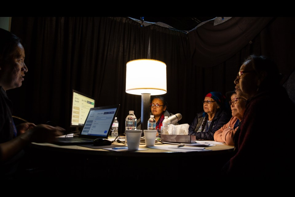 Stoney Nakoda members Travis rider, left, Heather Cressman, Glenda Crawler, Dianne Ridsdale and Margaret Rider discuss the meaning of the Stoney word for light at the Stoney Nakoda Resort & Casino on Thursday, September 26, 2019. More than 30 elders spent a week cataloguing the Stoney language. Evan Buhler RMO PHOTO