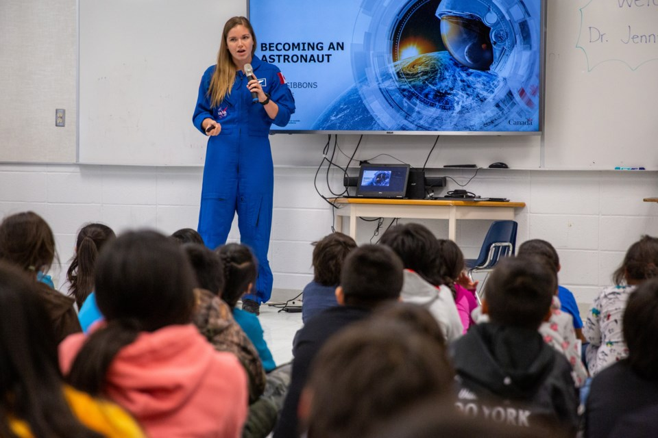 Canadian astronaut, Jenni Sidey-Gibbons speaks to students at Exshaw School about what it takes to become an astronaut and the Canadian Space Agency's Junior Astronauts campaign on Friday (Nov. 1). Sidey-Gibbons took time after her presentation to answer the students questions about space. Evan Buhler RMO PHOTO