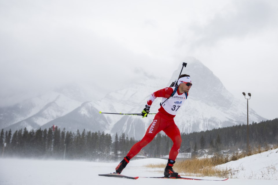 Christian Gow of the national biathlon team races in the Biathlon Canada Trials at the Canmore Nordic Centre on Tuesday (Nov. 5). Evan Buhler RMO PHOTO