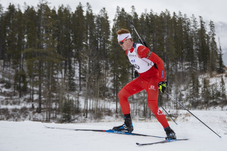 Canmore native, Aidan Millar of the national biathlon team races in the Biathlon Canada Trials at the Canmore Nordic Centre on Tuesday (Nov. 5). Evan Buhler RMO PHOTO