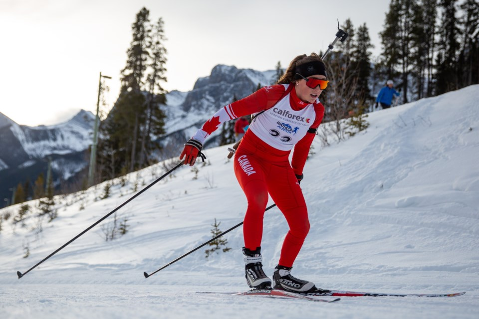 Emily Dickson competes at the Canmore Nordic Centre in Dec. 2019. RMO FILE PHOTO