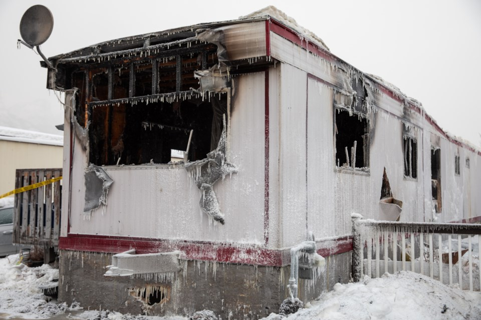 The property of a mobile home the morning after Tuesday (Jan. 14) the building was engulfed by fire. EVAN BUHLER RMO PHOTO