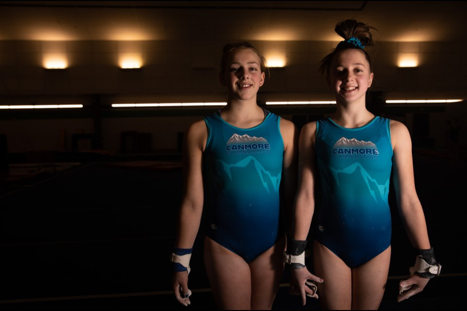 Canmore Illusions gymnasts Kayden Crowe, left, and Ellie Sucharda. EVAN BUHLER RMO PHOTO