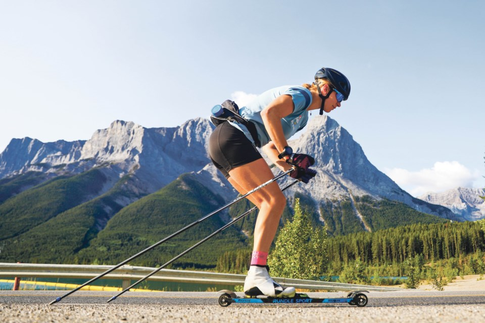 Dahria Beatty climbs the the hill towards the Canmore Nordic Centre in September 2020. EVAN BUHLER RMO PHOTO