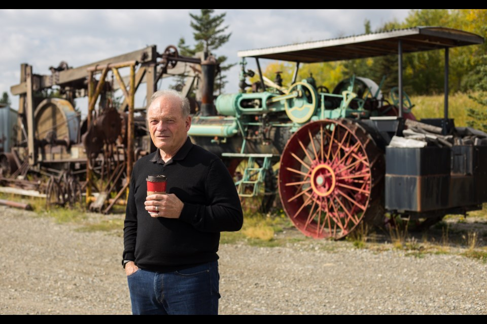 Ian MacGregor stands in front of equipment that will be part of an outdoor display of oil and gas machinery at the Canadian Museum of Making. CHELSEA KEMP RMO PHOTO