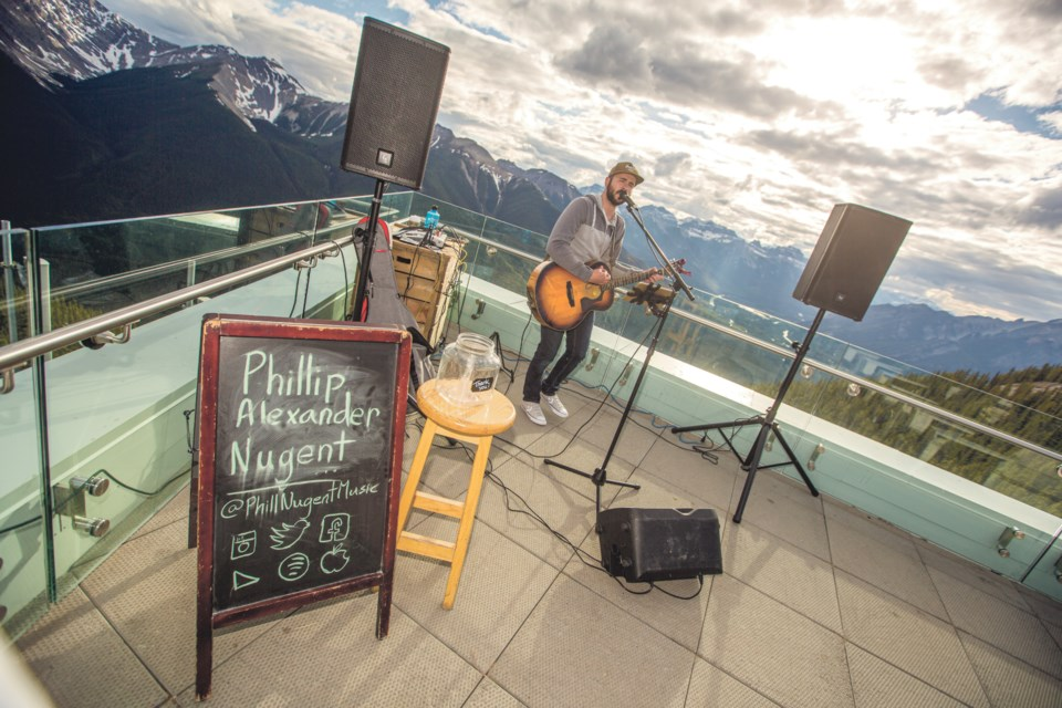 Canmore's Phil Nugent plays the Sunset Festival at the Sulphur Mountain Gondola in Banff in June. RMO FILE PHOTO
