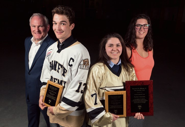 Bill Doherty, left, along with Blaise Arkle, Rachel Fontinha, and Cassea Schols present their awards given during the Banff Hockey Academy sweater ceremony at the Fenlands in Banff in 2016. RMO FILE PHOTO