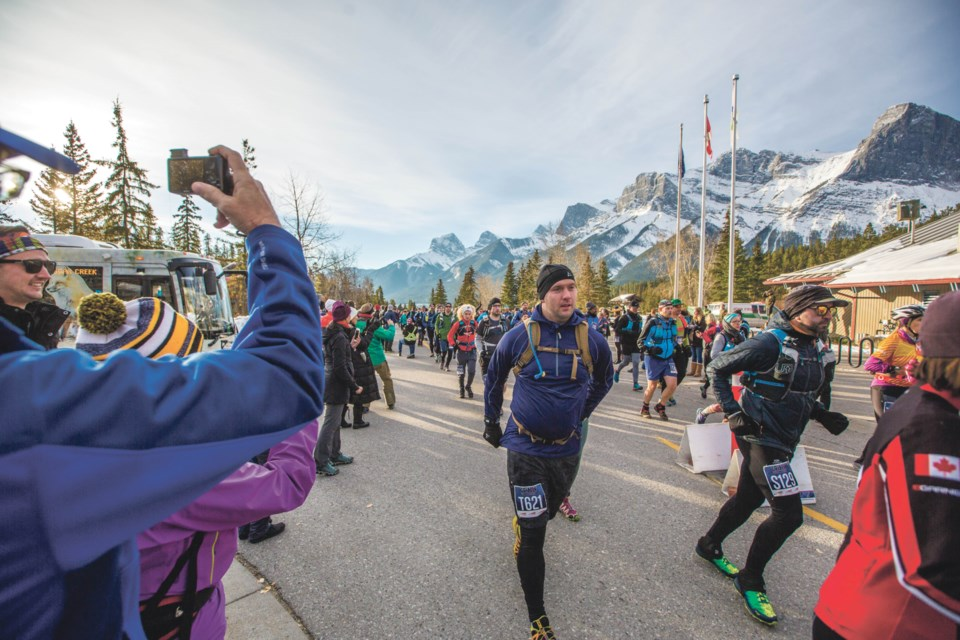 Runners compete in the Grizzly Ultra Marathon at the Canmore Nordic Centre in 2018. RMO FILE PHOTO