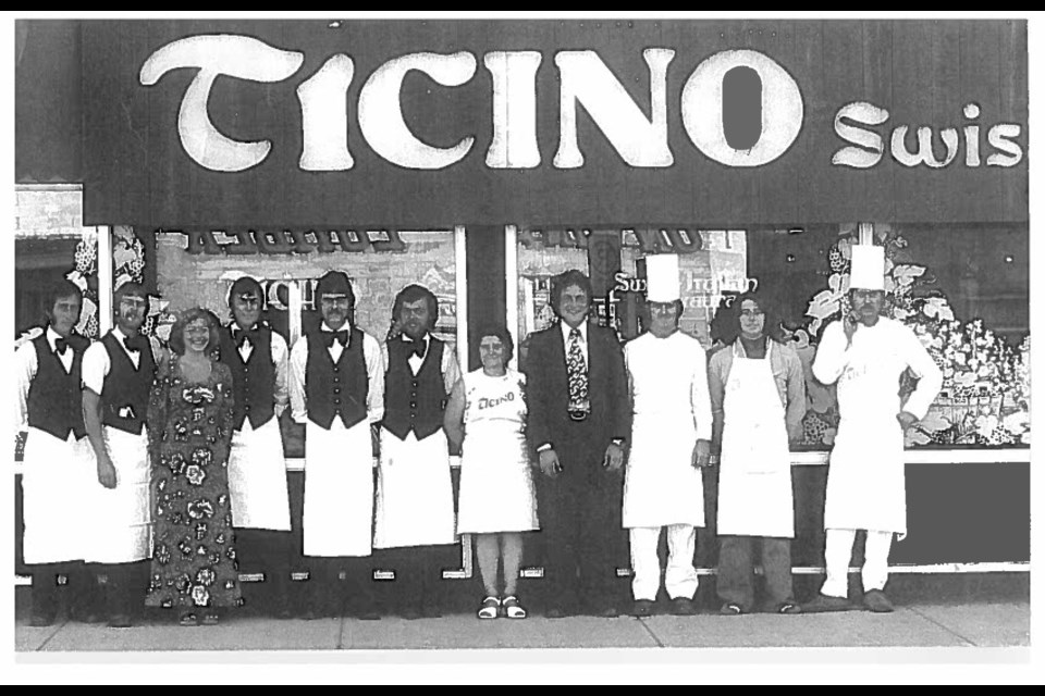 Ticino Swiss-Italian Restaurant from 1976 at its original location in Banff at 205 Wolf Street where previous owner George Schwarz, chef Albert Moser and Erwin Widmer who was a waiter at the time. Today Ticino Restaurant has been passed down to Widmer's daughter, Angela Helie and her husband, Louis-Pierre Helie and is now located at 415 Banff Ave. SUBMITTED PHOTO