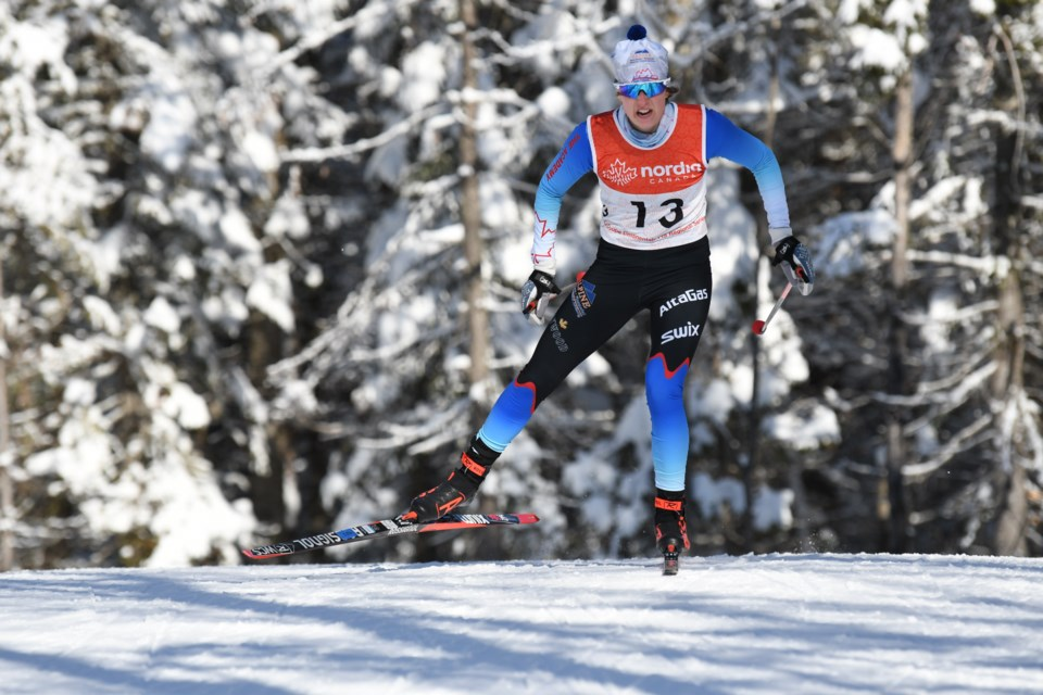 A determined Laurence Dumais powers through the sprint race on Jan. 30 at the selection trials in Mont Sainte-Anne, Quebec. DOUG STEPHEN PHOTO