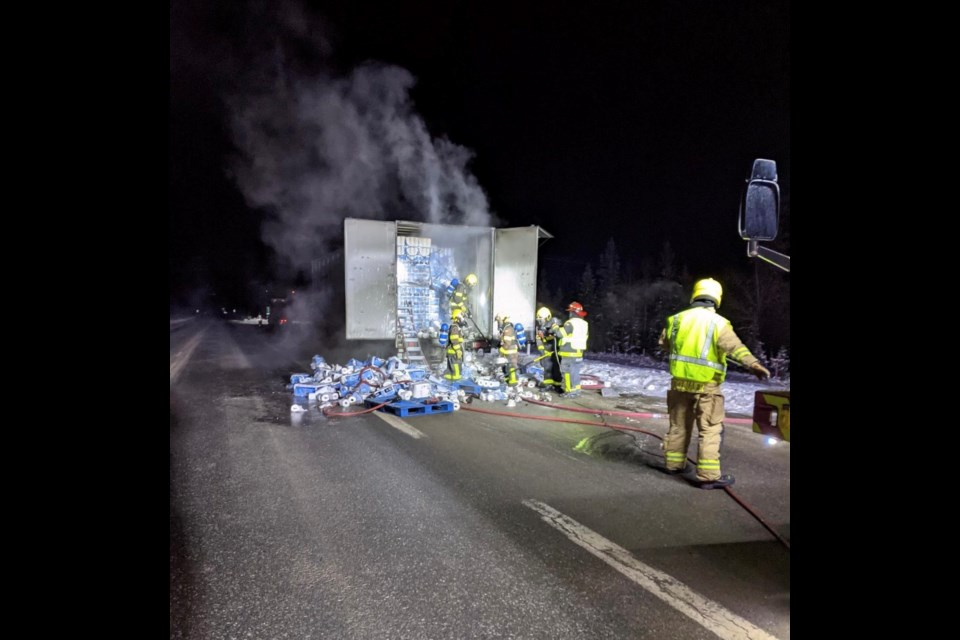 Canmore Fire-Rescue firefighters respond to a semi-truck and trailer fire on the Trans-Canada Highway Sunday morning (Dec. 27). CANMORE FIRE-RESCUE PHOTO