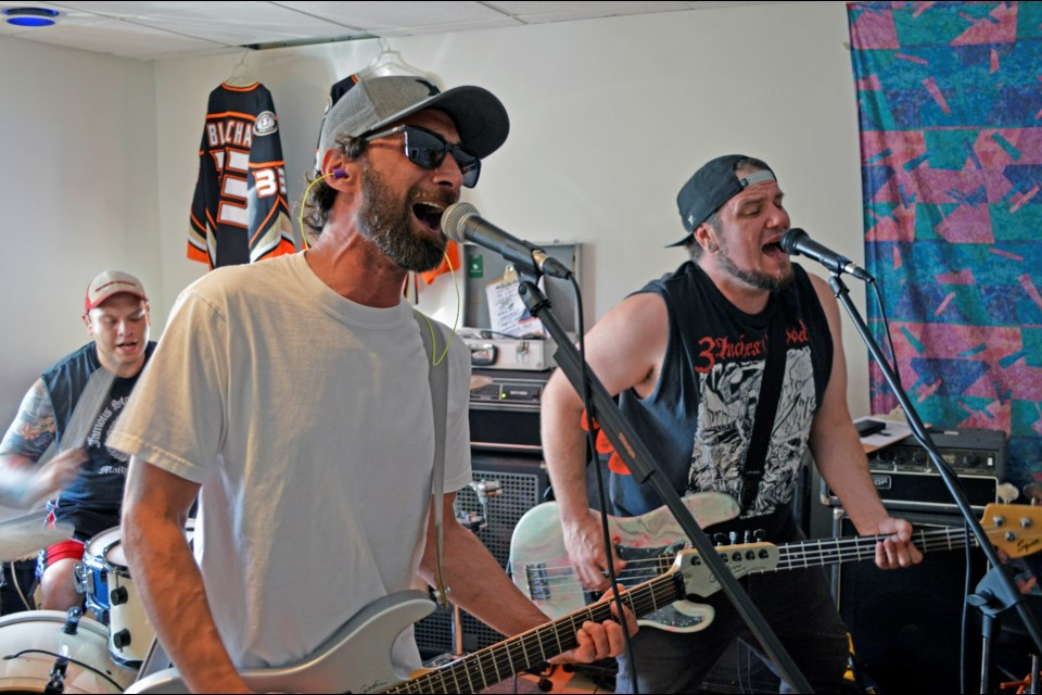 Local skate punk band All The Time Everywhere tightens its sound at its rehearsal studio in Banff. Front: Aaron Lavigueur, left, and Chris Cushman. Back: Terry Blanchard. (Not pictured: Ryan Piontek). JORDAN SMALL RMO PHOTO