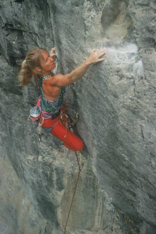 Barb Clemes climbs Success Pool, 5.12 in 1989. PHOTO BY BRIAN BAILEY