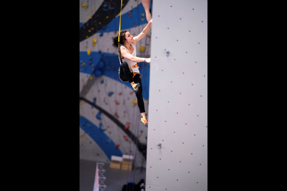 Becca Frangos of Canmore competes in the finals at Sender One Climbing Gym during the IFSC Pan American Championships in Los Angeles. DANIEL GAJDA IFSC PHOTO
