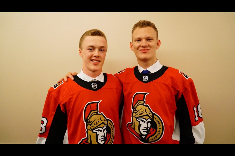 Jacob Bernard-Docker, left, and Brady Tkachuk were selected by the Ottawa Senators in the first round of the 2018 NHL Entry Draft. SUBMITTED PHOTO