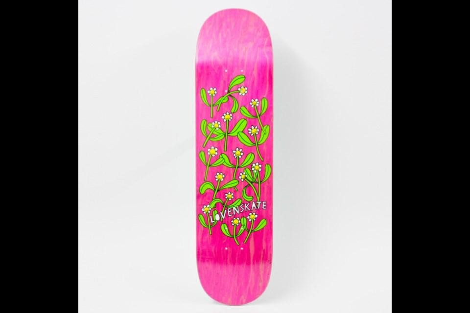 Liisa Chisholm's skateboard deck design. Photo by ThePalomino.com