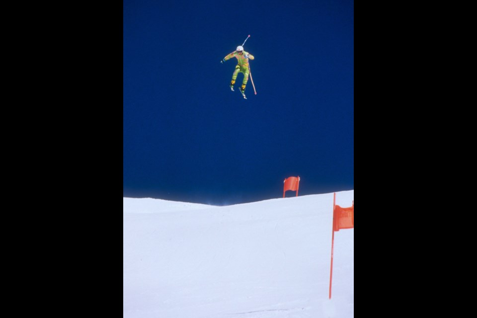 One of Alpine Canada's Malcolm Carmichael's most famous photos of Darren Thorburn catching big air in Lake Louise during a training session in 1990.