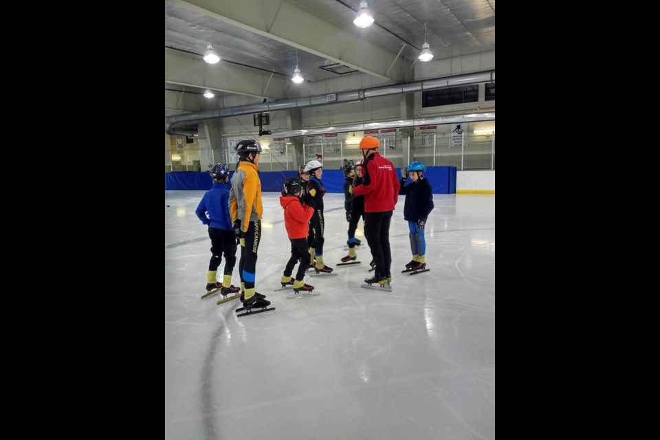 David Gilday coaches skaters at the Banff/Canmore Speed Skating Club. IAN MELLORS SUBMITTED PHOTO